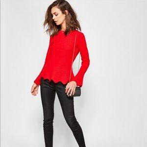 TED BAKER red peplum scalloped bell sleeve sweater